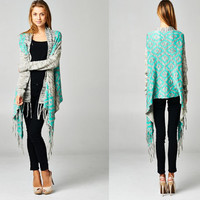 Gorgeous Charcoal Gray Heathered Aztec Mint Teal Trim Long Duster Fringe Cardigan Sweater