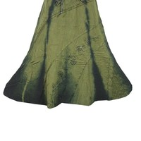 Hippie Boho Skirt Green Embroidered Stonewashed Long Peasant Gypsy Skirts: Amazon.ca: Clothing & Accessories