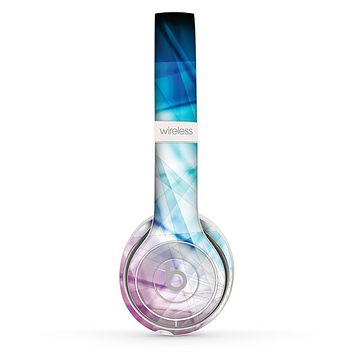 The Vibrant Blue and Pink HD Shards Skin Set for the Beats by Dre Solo 2 Wireless Headphones