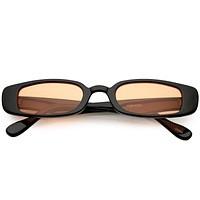 Unisex 90's Retro Thin Rectangle Color Tone Lens Sunglasses C549