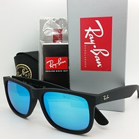 NEW Rayban sunglasses RB4165 622/55 51 Justin Matte Black Blue 4165 AUTHENTIC