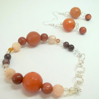 Jewelry, Beaded Bracelet with matching Beaded Earrings, Made by Princess Tunacorn, READY to SHIP
