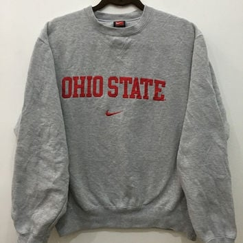 JUNE SALE 25% OFF Vintage 90's Nike Swoosh Nike Ohio State Sweatshirt Crewneck Hip Hop Sport Trainer Sweater Size L #S105