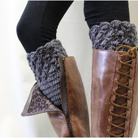 Boot Cuffs, Bootie Cutie, boot socks cuff, crochet,socks, dark grey, boot toppers, fall | CC0
