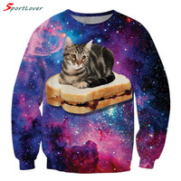 Sportlover Popular Funny Animal Hoodies Women/Men Cat Pizza Bread Print 3D Sweatshirt Space Galaxy Pullover Casual Sweats Tops