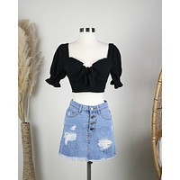 Distraction Bustier Cropped Blouse in Black
