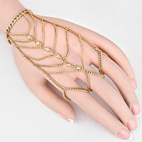 "Womens Body Jewelry, Color : Gold • Size : 4"" H, 7"" + 2"" L • Draped Hand Chain"