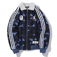 BAPE AAPE Champion Winter Trending Women Men Stylish Blue Camouflage Lambs Wool Cotton Cardigan Jacket Coat