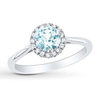 Aquamarine Ring 1/15 ct tw Diamonds Sterling Silver