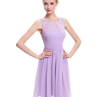 Cheap Short Bridesmaid Dresses Under 50 Knee Length Chiffon Formal Dress Wedding Purple Lilac Bridesmaid Dress 2016 Party 0076