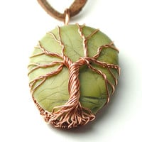 Tree of Life Pendant Wire Wrapped on Natural Green River Stone Handmade Artisan Pendant Copper and Green Celtic Tree Pendant Necklace