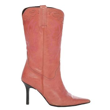 Vintage y2k Charlie Horse Pink Leather Point Toe Cowgirl Boots