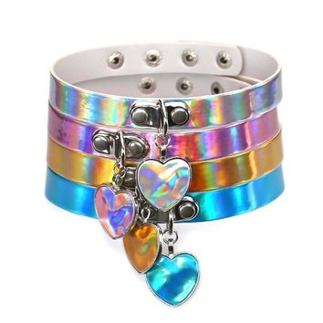Bijoux Feminino Holographic Harajuku Jewelry Punk Goth PU Leather Choker Necklace Women Heart Collares Necklaces & pendnats