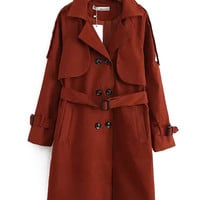 Double Breasted Notch Lapel Trench Coat