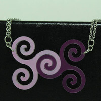 Linking pendants for Best Friends, sisters. Set of 2 purple spiral pendants