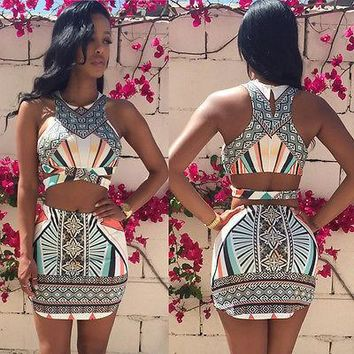 Summer Ladies Womens Two Piece Crop Top and Set Sexy Bandage Bodycon Dress 2016 fashion new style