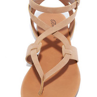Boho Babe Natural Nubuck Thong Sandals