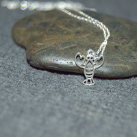 tiny silver lobster necklace, ocean necklace, filigree charm, sterling silver Maine necklace, lobster charm, dainty necklace, gifts for her