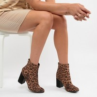 New Look Leopard Print Block Heeled Ankle Boot at asos.com