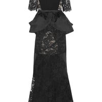 Alessandra Rich - Lace, crepe and satin-jacquard peplum gown