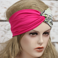 Pink Turban stretchy headband yoga headband ear warmer womens head wrap girly accessories twisted headband,Cute Hair Bands,jersey headband