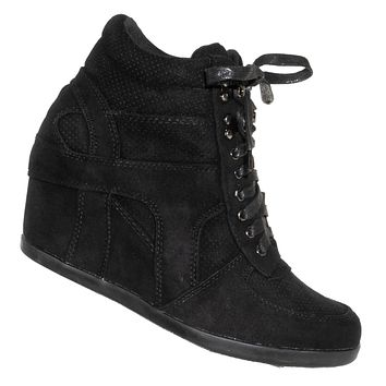 Kaipo88 90's Hidden Wedge Sneaker - Athleisure Lace Up No Show Heel Shoes