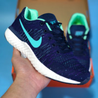 KUYOU N542 Nike Cityloop Flyknit Ratro Breathable Running Shoes Dark Blue Mint Green