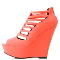 Qupid Strappy Caged Peep Toe Wedges