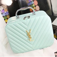 YSL Fashion New Leather Women Leisure Storage Bag Cosmetic Bag Light Green