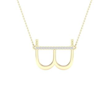 10k Yellow Gold Round Diamond Initial B Letter Necklace 1/20 Cttw