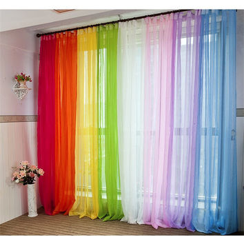 Europe and the United States Hot 200 * 95 cm multi - color optional color solid color chiffon curtains wedding decoration