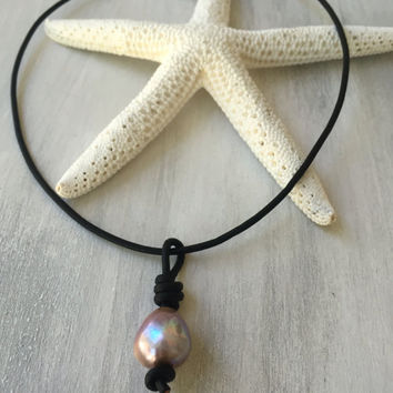 Pearl leather necklace, pearl choker, pearl necklace, fireball pearl, choker necklace