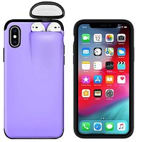 PURPLE CASE FITS Apple iPhone MODELS 6 thru 11 PRO MAX Plus Cover For AirPods Earphone Holder Hard Case FREE SHIPPING