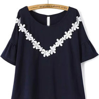 Navy Short Bell Sleeve Embroidered Blouse