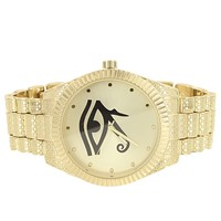 Men's Gold Finish Evil Eye Fluted Bezel Textured Band Watch