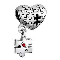 Silver Plated Pugster Puzzle Heart Dangle Love Red Crystal Bead Fits Pandora Charm Bracelet