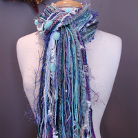 Fringie in Faded Jeans - Multi-texture hand tied scarf / photo prop in cool blue, steel blue, white, lavendar