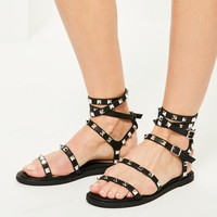 Missguided - Black Studded Multi Strap Gladiator Sandals