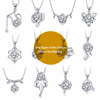 The Signs of the Zodiac Necklace,  Zircon,  925 Sterling Silver