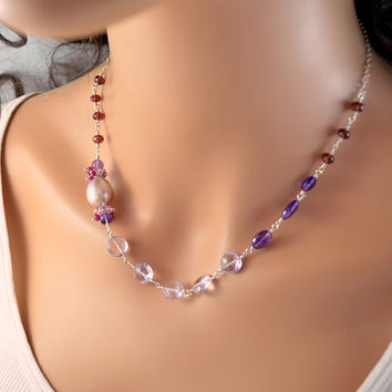 NEW Pink Amethyst and Garnet Necklace, Sterling Silver, Red Purple and Lavender Real Gemstone, Wire Wrapped Jewelry, Free Shipping