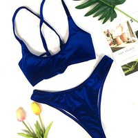 Pretty Bikini Set 2018 Sexy Women Solid Velvet Swimsuit Bikini Women Swimming Suit Strappy Velvet  Bathing Suits Halter Beach Swimwears KO_24_2