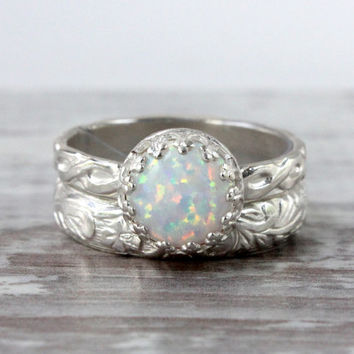 Opal ring set of 2, sterling silver, 8 mm white lab opal cabochon, floral bands, princess ring, engagement, wedding, divorce, promise ring