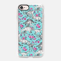 Dinosaurs and Roses on turquoise blue iPhone 7 Case by Micklyn Le Feuvre | Casetify