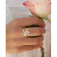 Connie Ring * Moonstone * Gold Plated 18k * BJR128