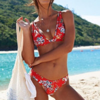 Fashion trend floral deep V swimsuit sexy two-piece bikini