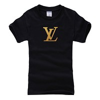 LV Louis Vuitton Fashion Men Casual Hot Letter Print T-Shirt Top Blouse Black