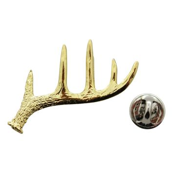 Buck Antler Shed Pin ~ 24K Gold ~ Lapel Pin