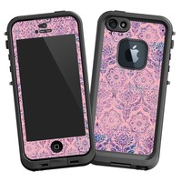 """Vintage Purple and Pink Damask """"Protective Decal Skin"""" for LifeProof fre iPhone 5/5s Case"""