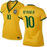 Neymar Jr #10 Brazil Nike Womens 2014 World Soccer Replica Home Jersey - Maize