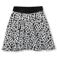 Code Bleu 7-16 Gloria Cheetah-Print Skirt - Black/White